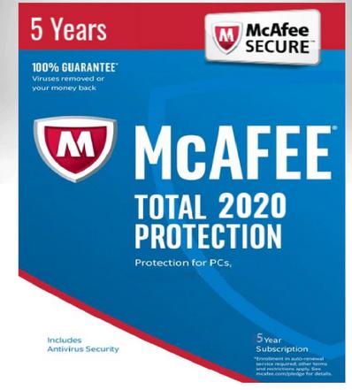 Antivirus McAfee Total Protecion 2020 1 PC / 5 Ans Clé Activation Multilingue